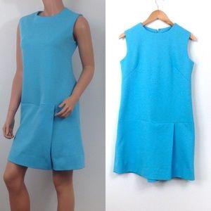 VTG 1960s romper womens solid blue shorts skort